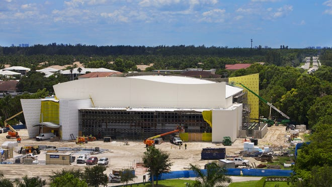 Construction continues Wednesday on Florida SouthWestern State College's new arena in south Fort Myers. The arena will host athletic, cultural and civic events.