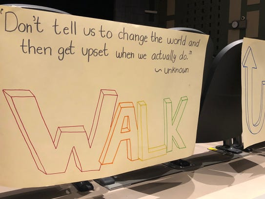 """James Buchanan High School students held a """"walkup"""" event the morning of Wednesday, March 14 in the auditorium instead of participating in the National School Walkout. The purpose of the Walkup is to encourage students to make new friends and talk to others they might not know."""