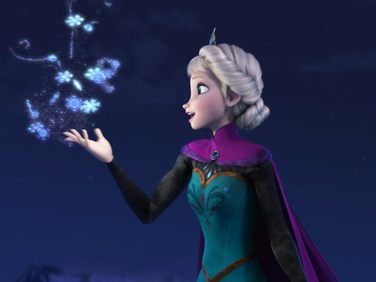 "AP This image released by Disney shows Elsa the Snow Queen, voiced by Idina Menzel, in a scene from the animated feature ""Frozen."" The film was nominated for a Golden Globe for best animated film on Thursday, Dec. 12, 2013. The 71st annual Golden Globes will air on Sunday, Jan. 12. (AP Photo/Disney) ORG XMIT: NYET726"
