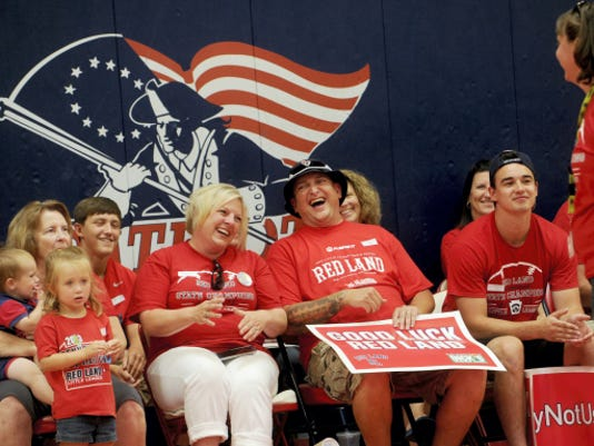 The family of the Red Land little league team is acknowledged during the pep rally held for the team at the Red Land High School on Friday.