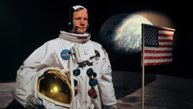 Neil Armstrong, the first man on the moon, is recreated in wax at Madame Tussauds Orlando, a new attraction opening May 4 at 8387 International Drive. They feature lifelike wax figures of celebrities, historic figures and more.