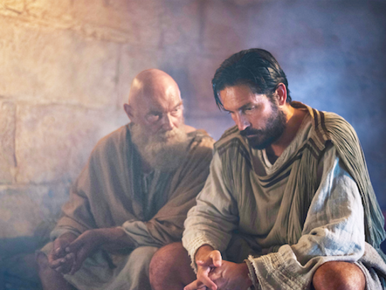 Paul (James Faulkner, left) and Luke (Jim Caviezel)