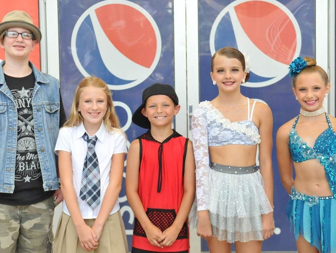 The semi-final qualifiers of the sprout division in the Bill Riley Talent Search at the Iowa State Fair on Aug. 11 (from left to right): Eli Dykstra, 12, of Boyden, Danielle Hribar, 10, of Iowa City, Peanut Johnson, 10, of Atlantic, Cassie Morse, 12, of Altoona, and Gianna Egenberger, 10, of Des Moines.