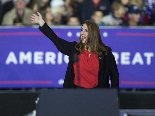 RNC chair Ronna Romney McDaniel waves at the crowd