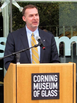 Ross Levi, executive director of tourism for Empire State Development, talks about the impact a major bloggers conference in Corning next year will have on the entire region during a Friday news conference at the Corning Museum of Glass.