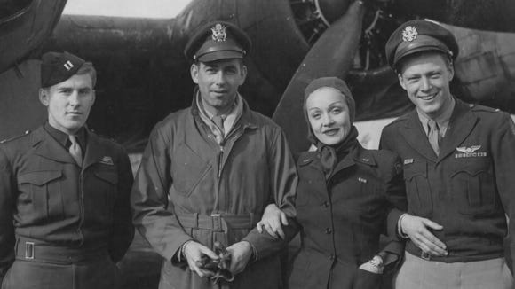 Movie star Marlene Dietrich spent time at air bases during the war as she traveled to USO appearances.