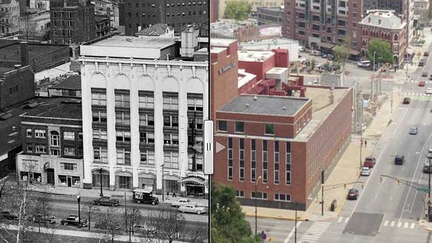Promo image for an interactive on the history of the Indianapolis Star property at 307 N. Pennsylvania St.