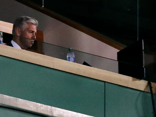 Dave Dombrowski, Boston Red Sox president of baseball operations, watches play against the Tampa Bay Rays during the seventh inning at Fenway Park in Boston, Wednesday, July 31, 2019. (AP Photo/Charles Krupa)
