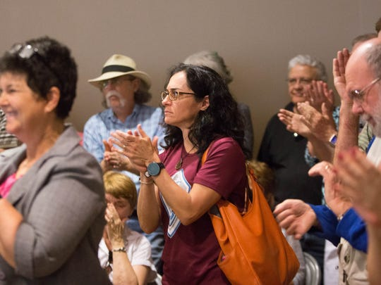 As many as 500 people filled the Ventana room at the New Mexico Farm and Ranch Heritage Museum, during US Representative Steve Pearce's town hall meeting, the room was filled with both supporters of Pearce and detractors, the town hall took about two and half hours, with some detractors not satisfied with Pearce's answers to many of the questions asked by constituents.