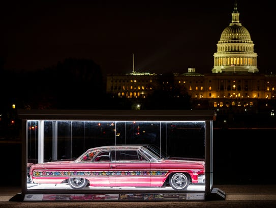 '68 Mustang Bullitt expected to debut on the National Mall in spring 2018, protected by a glass case, like this.