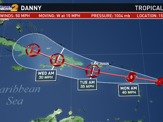 Danny will weaken as it moves west into the Caribbean.