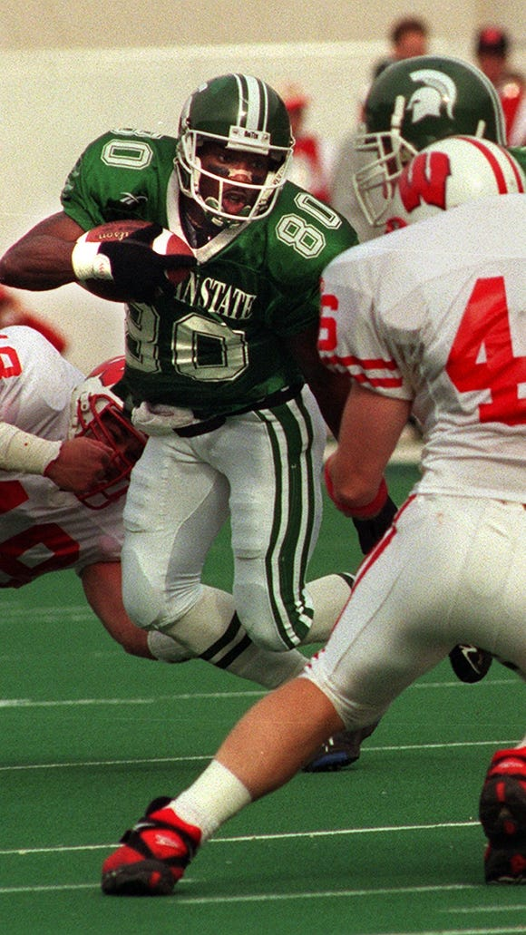 Derrick Mason led MSU in receptions in 1995 and 96, catching 53 passes each year. He was perhaps more dangerous in the return game.