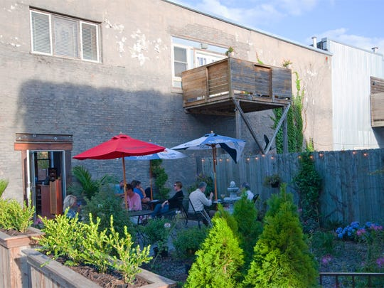 Ceviche Bar's patio in the East Village features shady