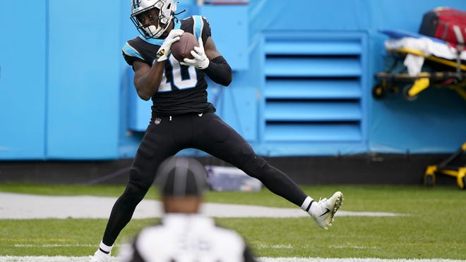 Carolina Panthers wide receiver Curtis Samuel catches a touchdown pass against the Detroit Lions last Sunday in Charlotte, N.C. Samuel has had strong performances in three of his last four games.