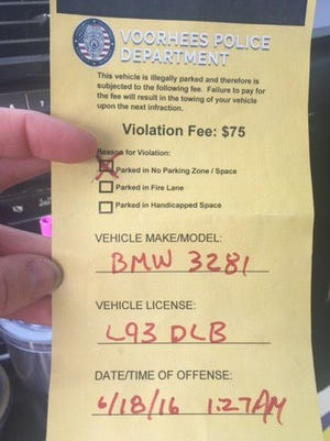 Fake parking tickets have been found on vehicles at Club at Main Street in Voorhees.
