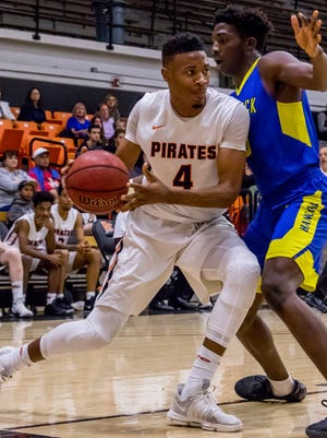 Ventura College forward Malcolm Ruff, shown earlier this season against Hancock, had a team-high 26 points and 12 rebounds in the Pirates' season-ending loss to top-seeded San Diego City in the CCCAA SoCal regional finals on Saturday night.