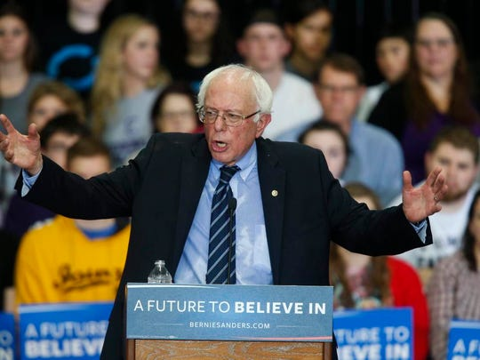 Vermont Sen. Bernie Sanders, a Democratic candidate for president, spoke to more than 1,100 supporters on Sunday, Dec. 13, 2015, at Cornell College in Mount Vernon, Iowa.