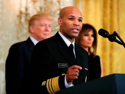 Donald Trump, Melania Trump, Jerome Adams