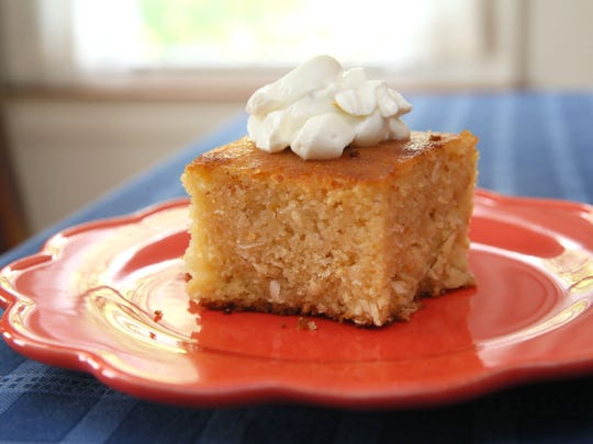 Semolina, Coconut and Marmalade Cake can be made as a loaf or in an 8-inch square pan.