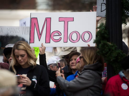 "A sign reading ""Me Too"" is held at the Knoxville Women's March at Krutch park in downtown Knoxville Sunday, Jan. 21, 2017. The crowd grew to 14,000 and spanned 10 blocks."