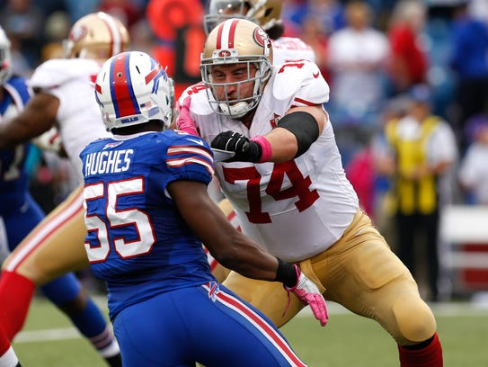 San Francisco 49ers tackle Joe Staley (74) blocks Buffalo