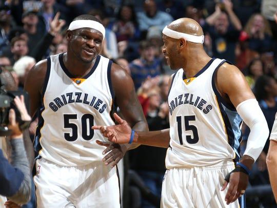 Memphis Grizzlies Zach Randolph and Vince Carter celebrate
