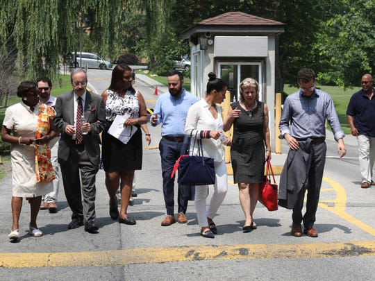 U.S Congressman Eliot Engel, third from left, walks with elected officials along with NYS Senator Andrea Stewart-Cousins, left, after touring Rising Ground in Yonkers, July 3, 2018. The officials were visiting where immigrant children are being held.
