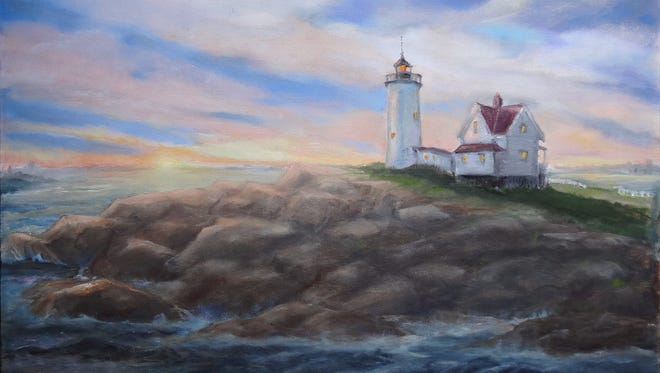 """""""Eventide,"""" an oil painting by Betty Koontz, features a less commonly seen seaward view of Maine's popular Nubble Light."""