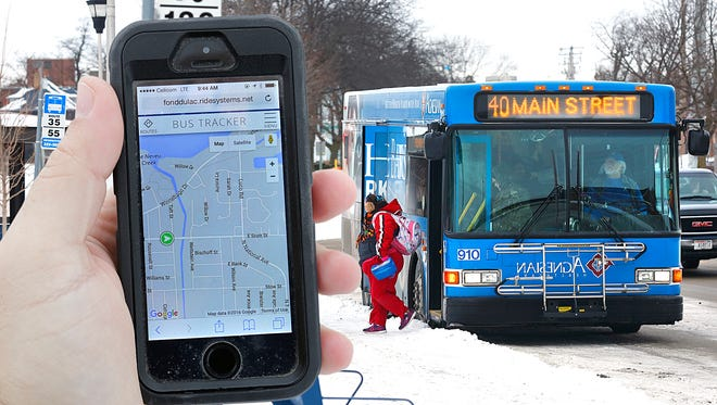 A composite of two photos demonstrates the GPS-enabled program that shows where city buses are in real time.