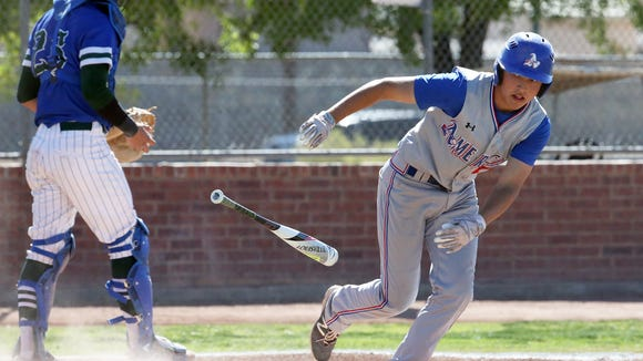 Americas batter Julian Galindo tosses the bat after he was walked by Montwood pitcher Eric Estrada Friday.