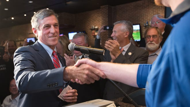 Delaware Governor John Carney places a bet at Dover Downs Hotel & Casino on the Philadelphia Phillies vs. Chicago Cubs game tonight.