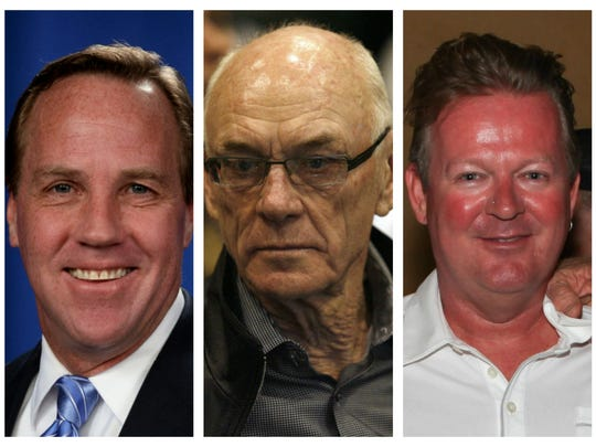 Palm Springs corruption suspects, from left: Former Mayor Steve Pougnet, developer John Wessman, developer Richard Meaney.