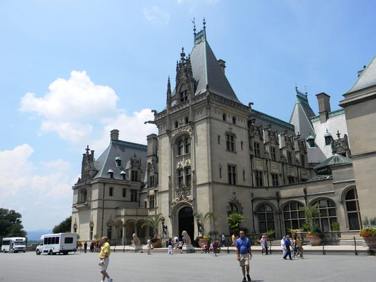 A summer day at Biltmore Estate, where tourists tour