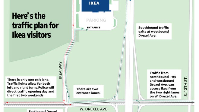 A map of the Oak Creek Police Department's traffic flow plan for Ikea's grand opening May 16.