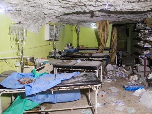 A hospital room in Khan Sheikhun, a rebel-held town