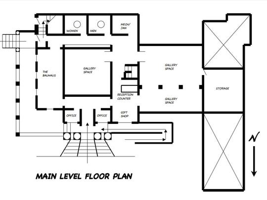 A floor plan for the proposed renovation of the former