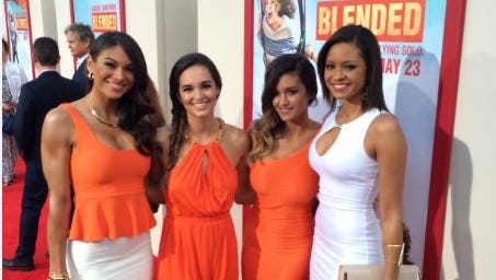 """From left, Janet Layug (Hooters of North Lakeland), Francesca Ruffino (Hooters of Cape Coral), Casey Luckey (Hooters of South Lakeland), Marissa Raisor (Miss Hooters International 2013 and Hooters of Newport, Ky.) at the Hollywood premiere Wednesday of """"Blended."""""""