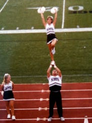 A photo, supplied by the Hostler family, showing Nick Hostler as a cheerleader.