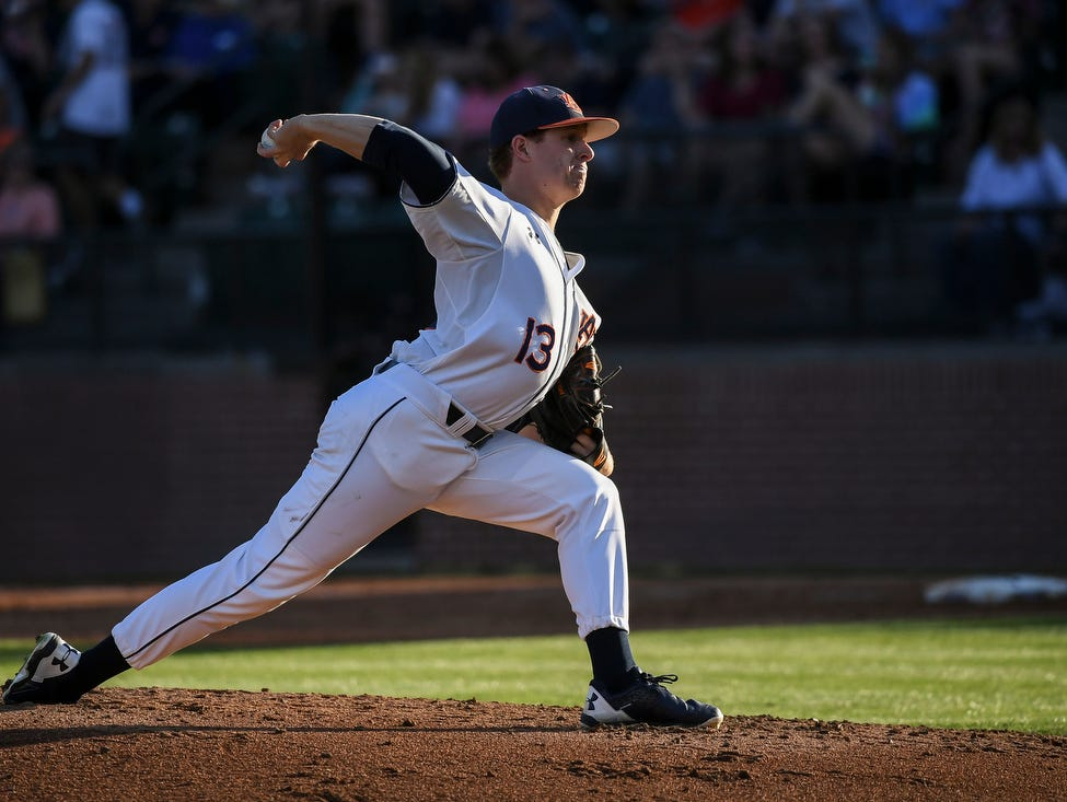 Auburn pitcher Davis Daniel took his first career loss vs South Carolina on Saturday, April 1, 2017 in Auburn, Ala.