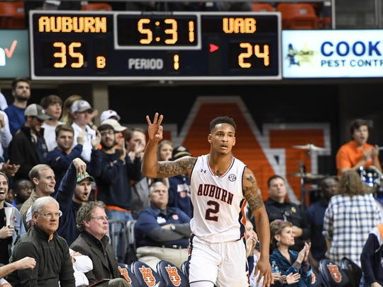 Auburn guard Bryce Brown finished with 27 points in
