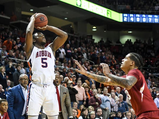 Auburn guard Mustapha Heron had a team-high 17 points in a 88-77 win over No. 22 Arkansas on Jan. 6, 2018 at Auburn Arena.