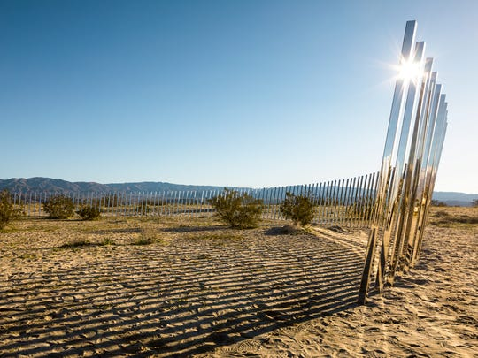 Smith lined up 300 mirrored posts angled at 10 degrees for his installation, The Circle of Land and Sky, which debuted for the contemporary art exhibition, Desert X 2017, in Palm Desert.