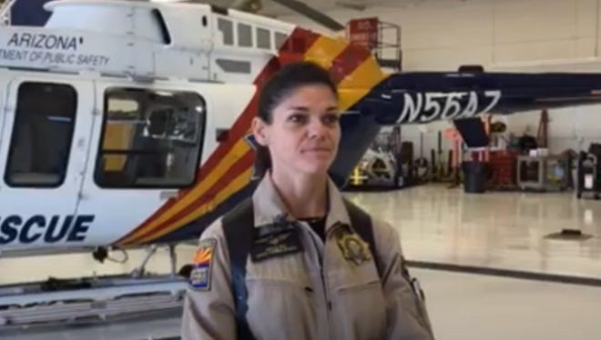 Angela Rose, an Arizona Department of Public Safety trooper paramedic, helped rescue the survivor of a medical-helicopter crash Tuesday, Dec. 15, 2015, in the Superstition Mountains outside of Apache Junction.