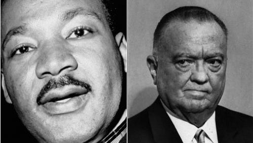 """Martin Luther King Jr. became a target of spying and wiretapping by the FBI. In 1964, then-Director J. Edgar Hoover called King """"the most notorious liar in the country."""" King responded that Hoover had """"apparently faltered"""" under his office's burdens."""