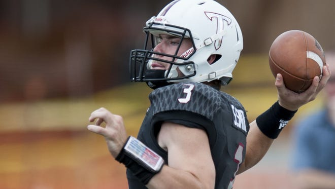 Troy quarterback Sawyer Smith throws during T-Day in Troy, Ala., on Saturday April 15, 2017.