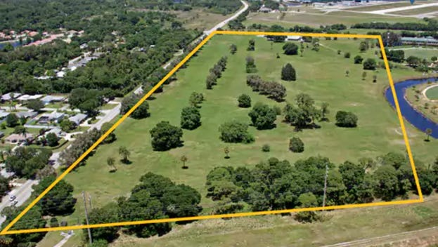 This aerial view shows the former Dodgertown Golf Course facing north.