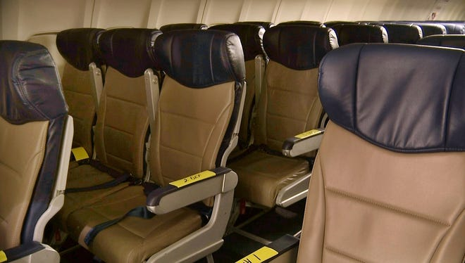 Rows of slimline seats await installation aboard a Southwest Airlines 737 in 2013 at the carrier's headquarters in Dallas.