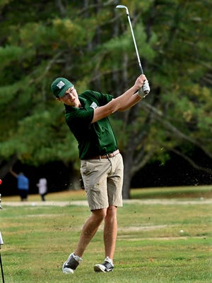 Nipmuc junior Connor LaCross kicks up some turf on a third hole drive  at Hopedale Country Club during Thursday's match against Hopedale.