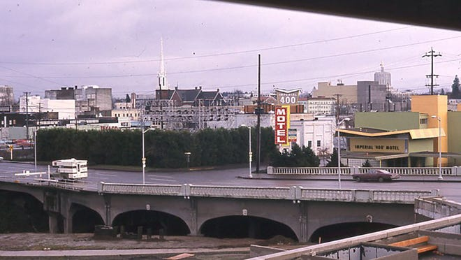 The corner of Liberty and Mill Streets SE as they looked c1970. You can still see the spire of the Methodist Church, but not much else.