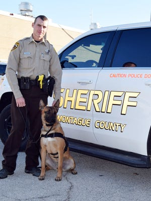 Deputy Chase Pelton of the Montague County Sheriff's office and new his new K-9 Ace.